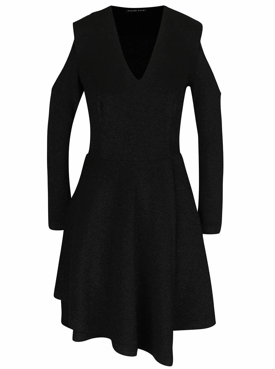 Černé třpytivé šaty s průstřihy na ramenou Pietro Filipi