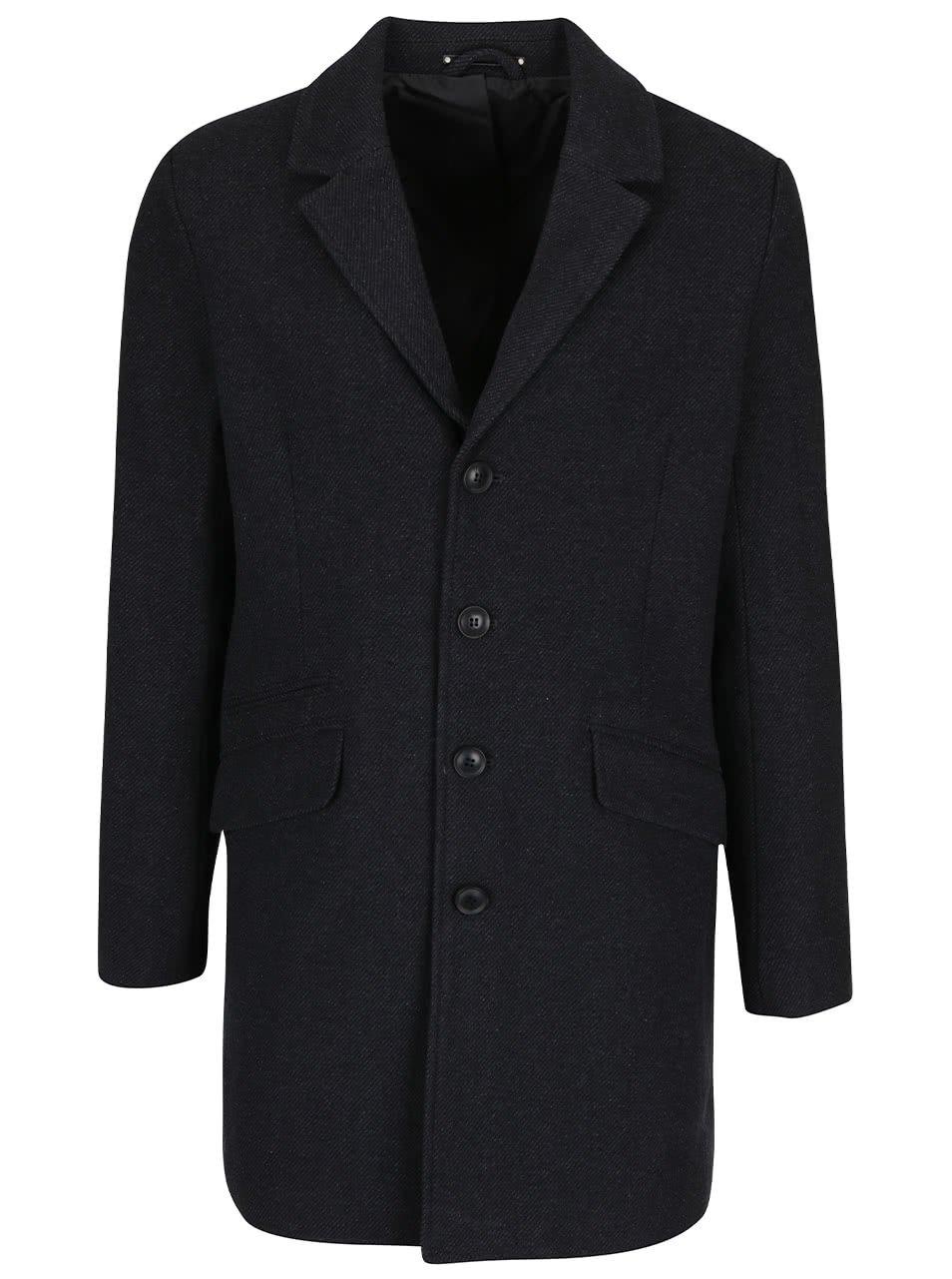 Tmavě šedý vlněný kabát ONLY & SONS Otto