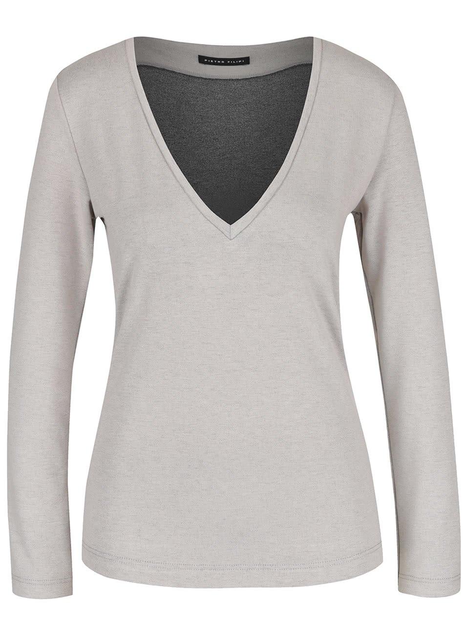 Světle šedé dámské tričko s průstřihy na rukávech Pietro Filipi