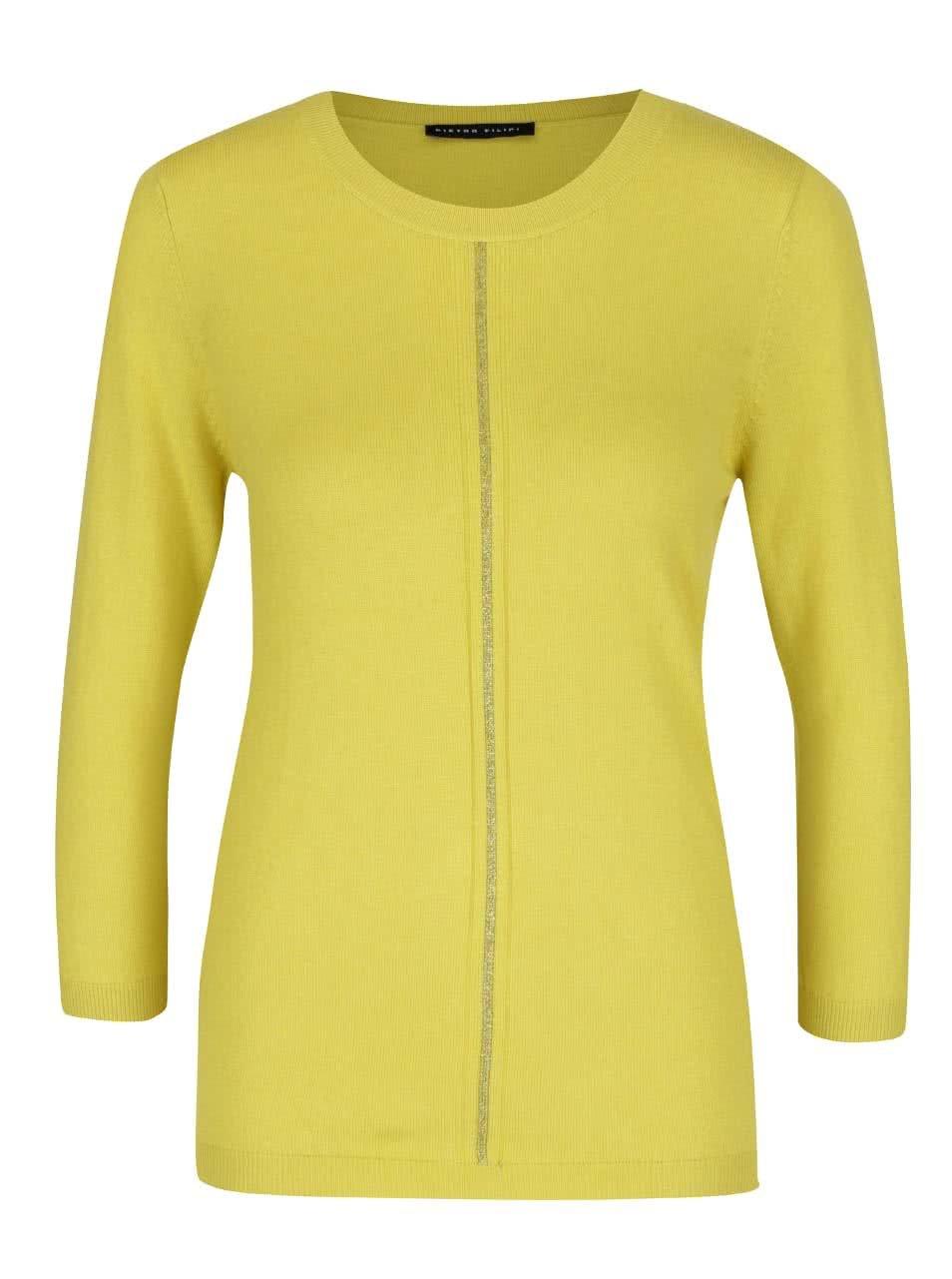 Žlutozelený dámský svetr s 3/4 rukávem Pietro Filipi
