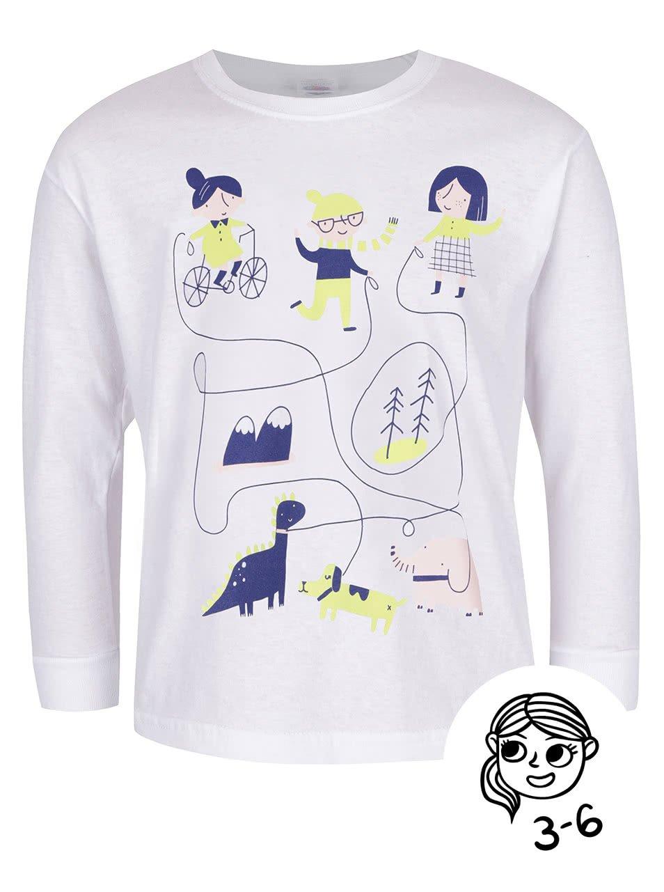 Bílé holčičí tričko s dlouhým rukávem ZOOT Kids Hra