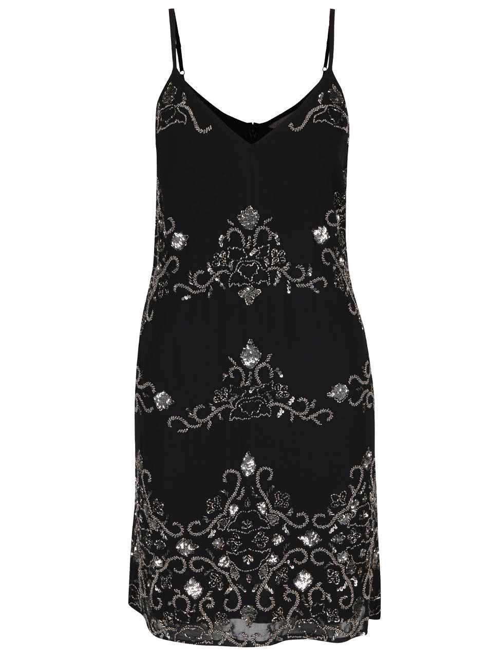 Černé šaty s flitry Miss Selfridge