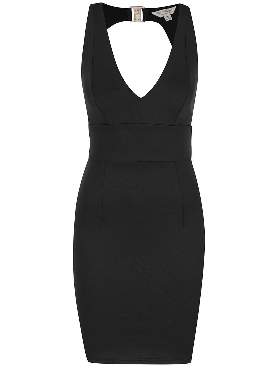 Černé elastické šaty s průstřihem na zádech Miss Selfridge
