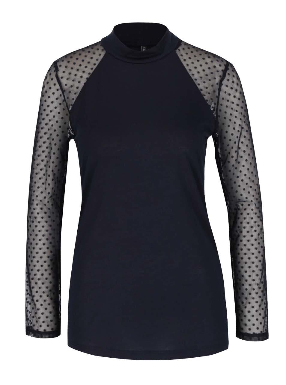Tmavě modré tričko s průsvitnými rukávy s puntíky ONLY Lulu