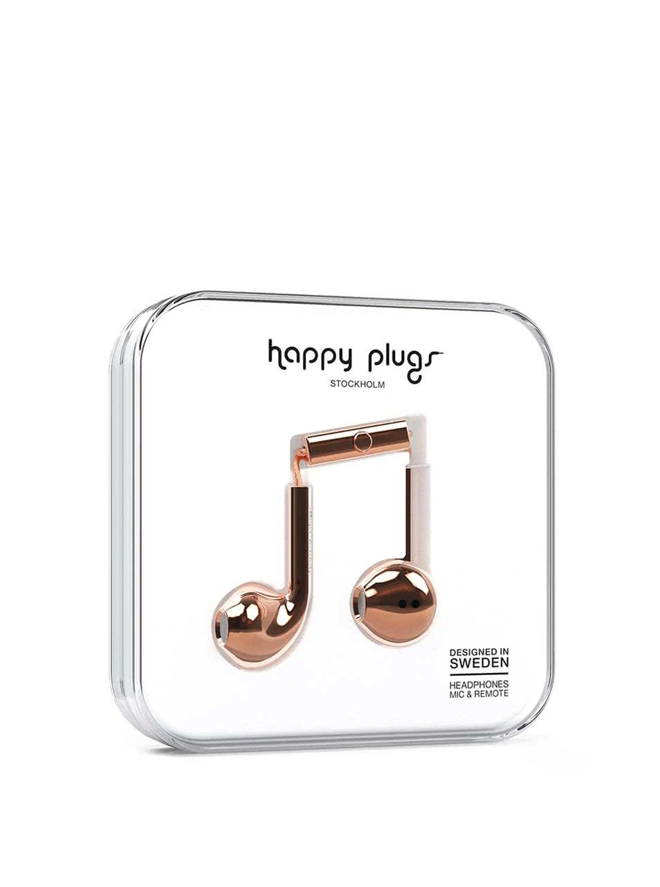 Earbud plus sluchátka v růžovozlaté barvě Happy Plugs