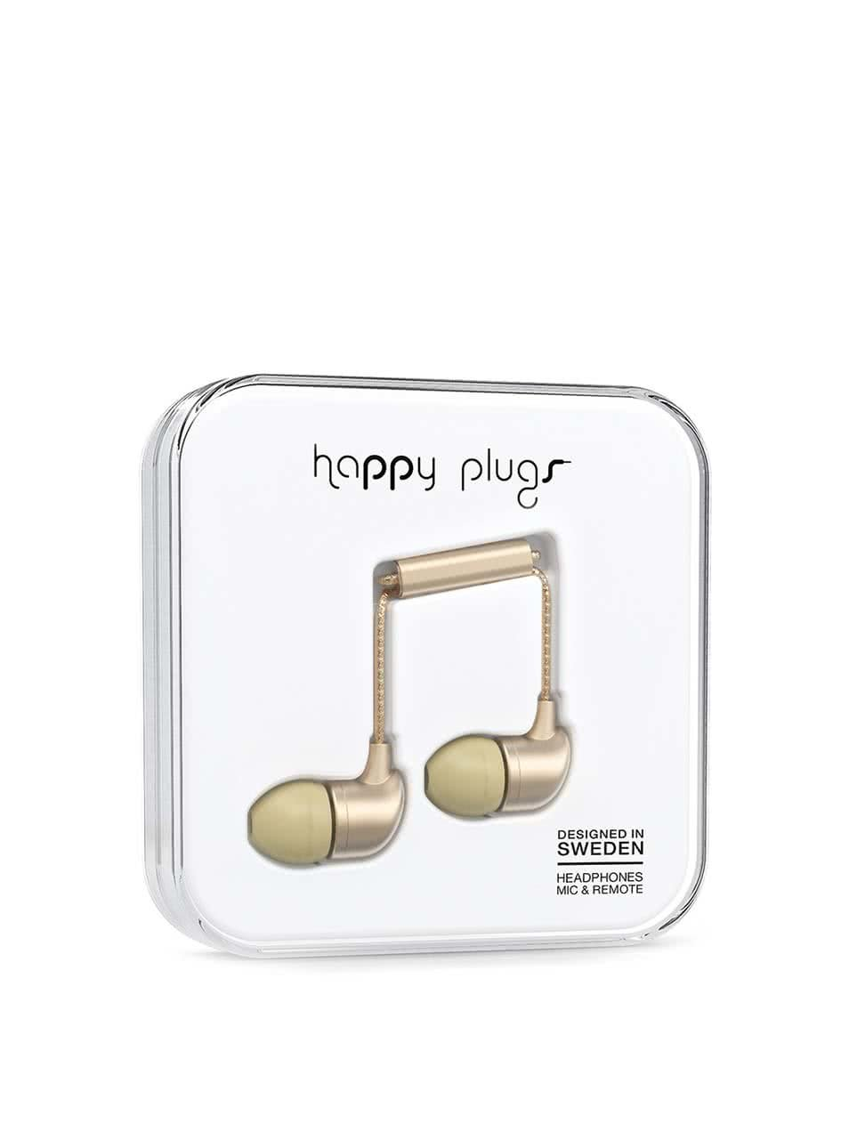 Matná in-ear saint slúchadlá v zlatej farbe Happy Plugs