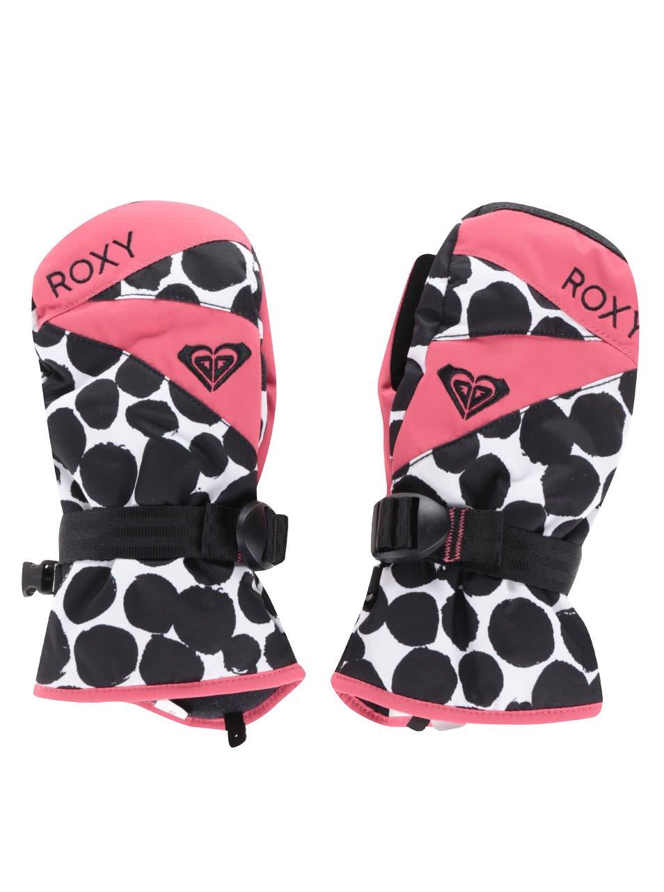 Černo-růžové zimní holčičí rukavice Roxy Jetty