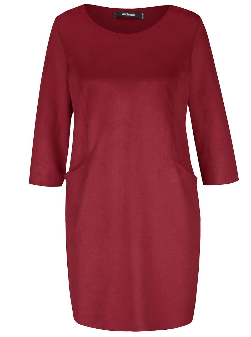 Vínové sametové šaty s kapsami Alchymi