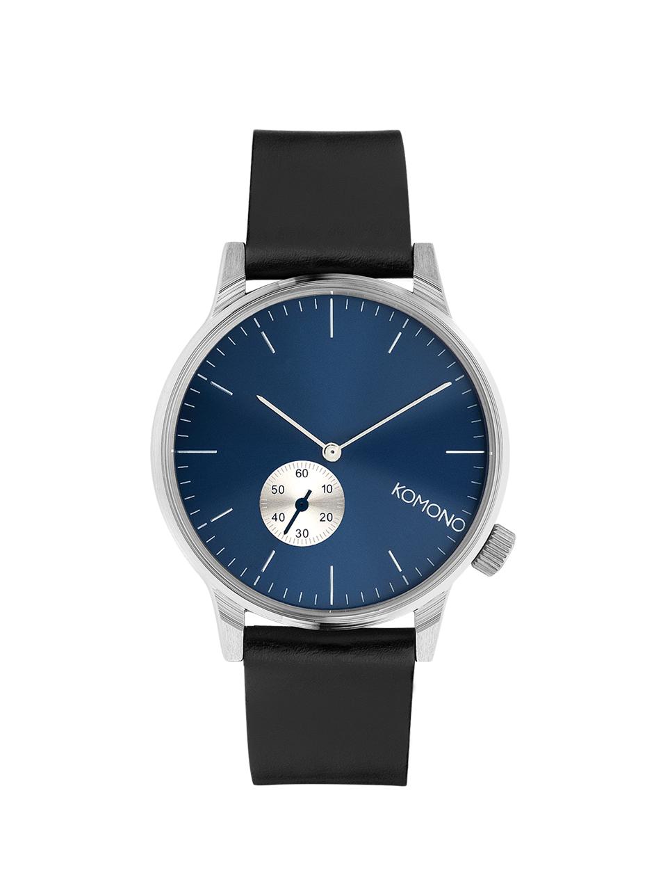 Černé unisex hodinky s modrým ciferníkem Komono Winston Subs
