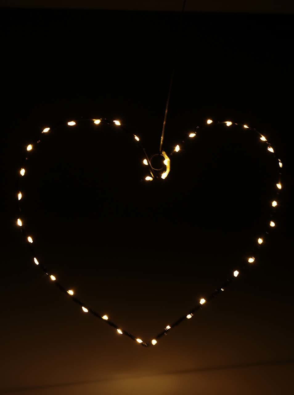 Černá světelná výzdoba ve tvaru srdce Sirius
