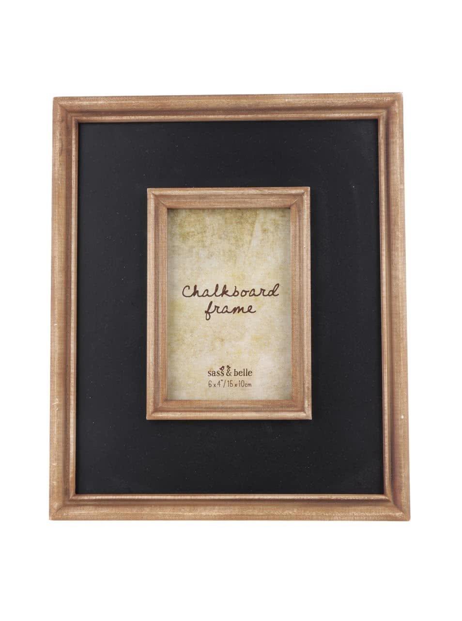 Hnědo-černý větší dřevěný fotorámeček Sass & Belle Chalkboard
