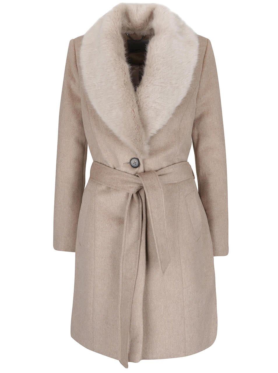 Béžový kabát s umělým kožíškem a zavazováním v pase Vero Moda Safire