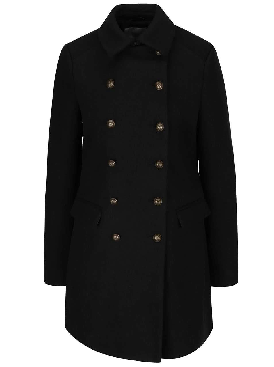 Černý kabát s dvouřadým zapínáním Vero Moda Marina