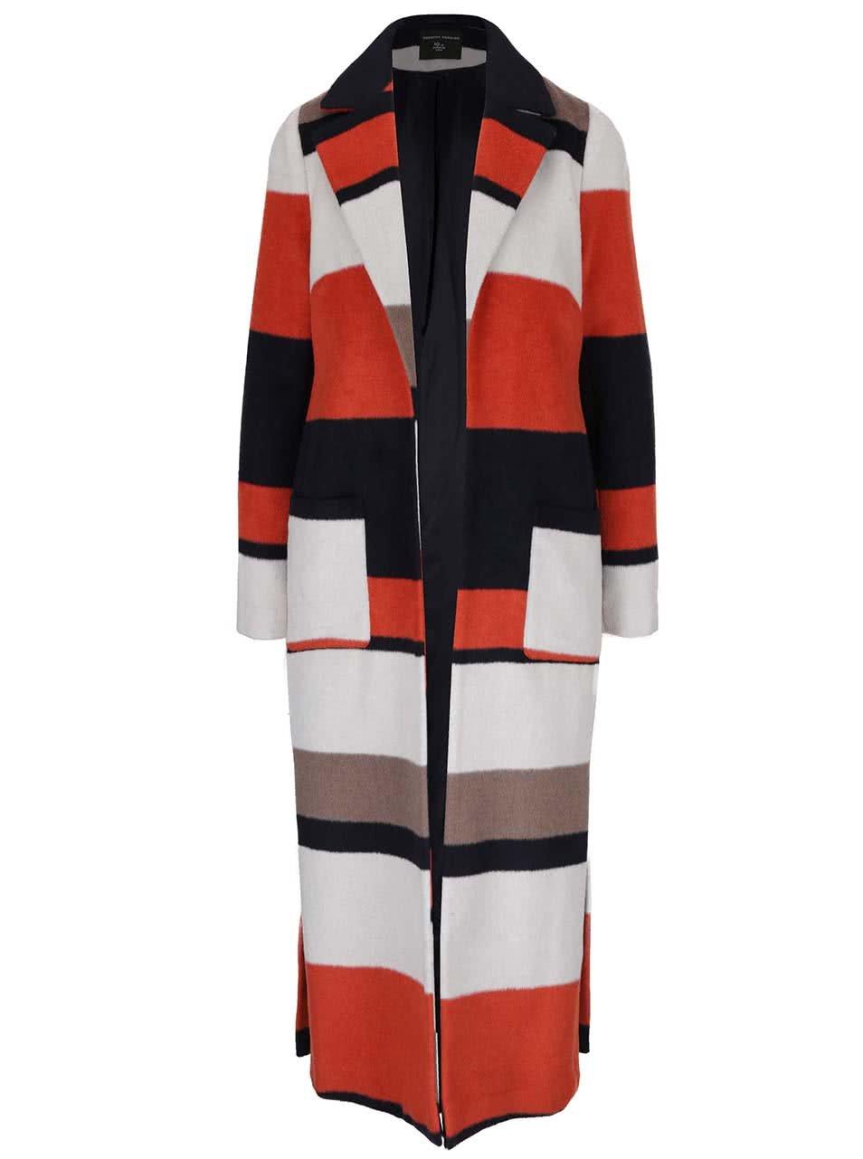 Oranžový vzorovaný dlouhý kabát Dorothy Perkins
