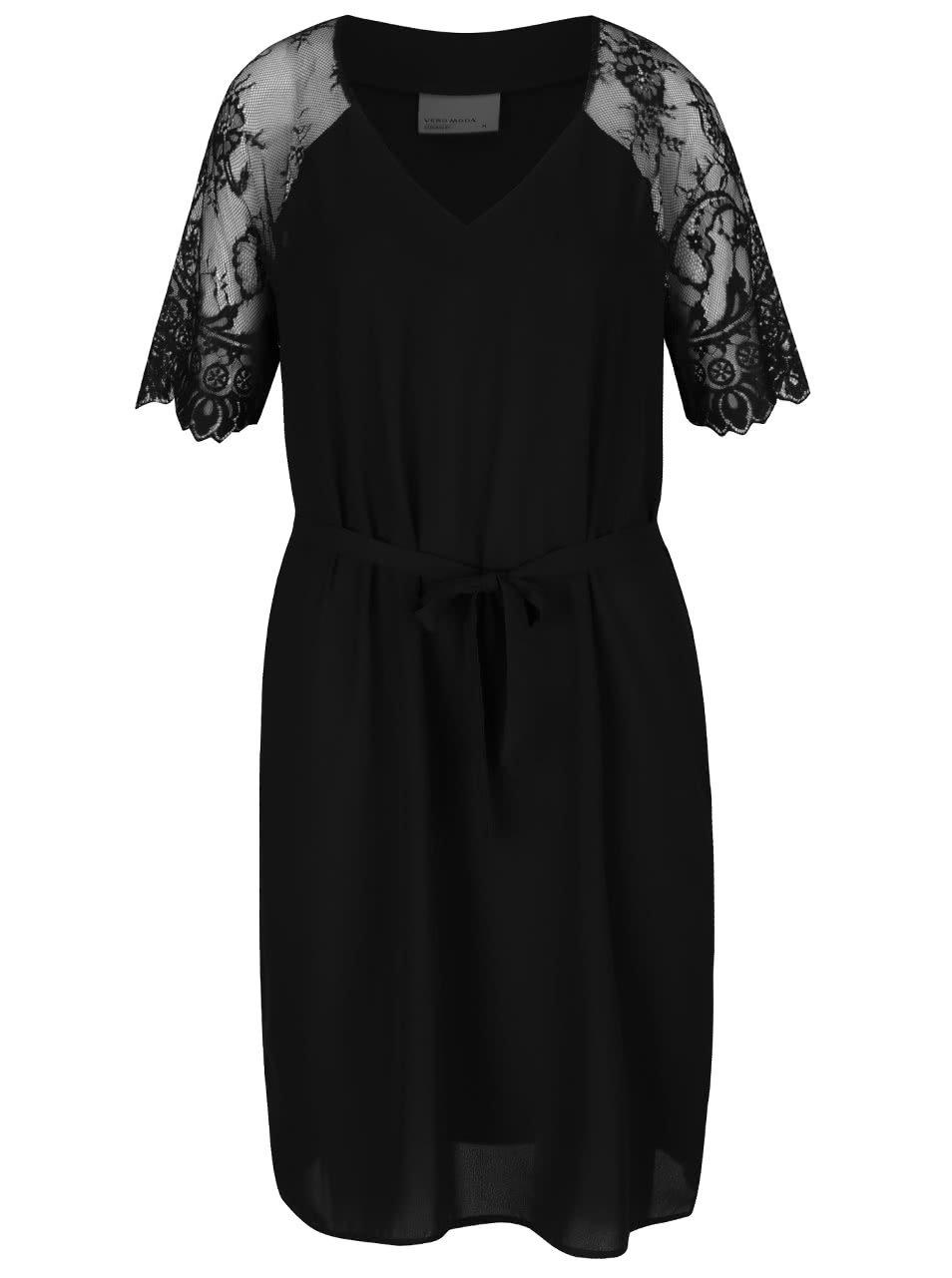 Černé šaty s krajkovými rukávy a zavazováním v pase Vero Moda Laural