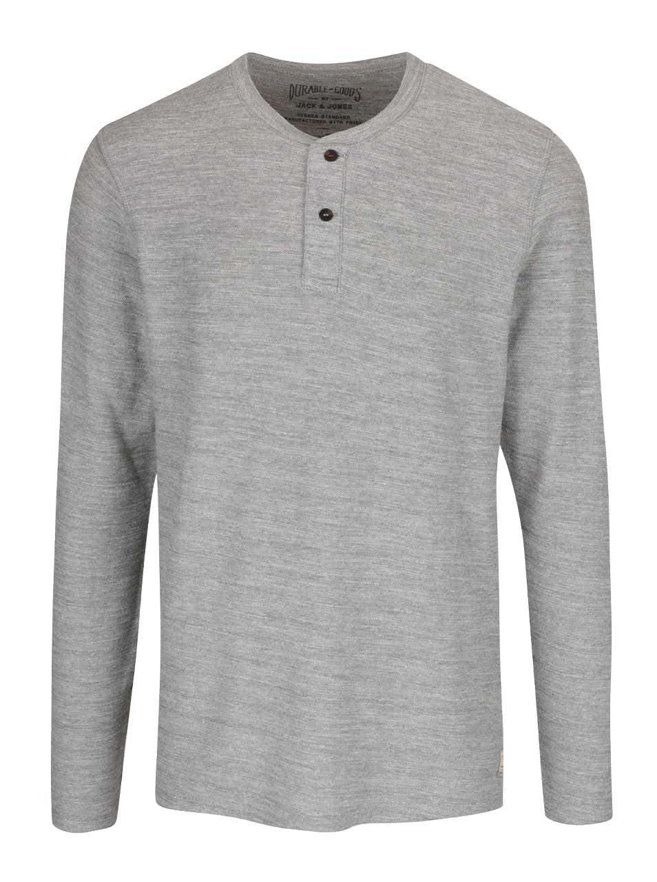 Světle šedé tričko s dlouhým rukávem Jack & Jones Sebastian