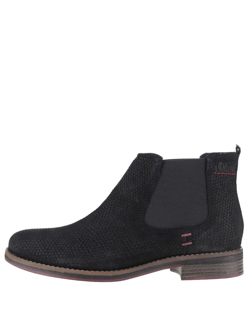 Černé dámské kožené chelsea boty s.Oliver