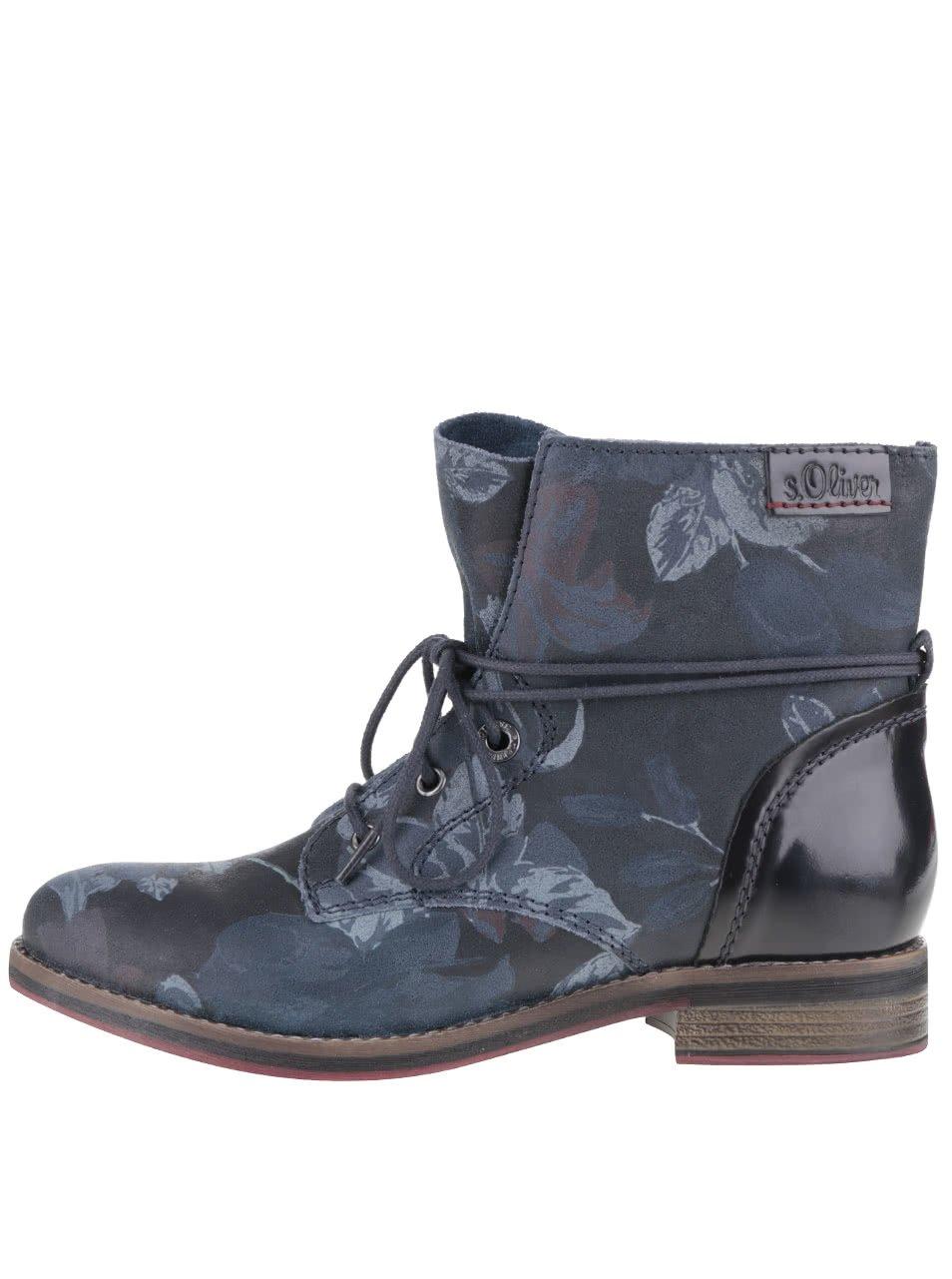 Tmavě modré dámské kožené kotníkové boty se vzorem s.Oliver