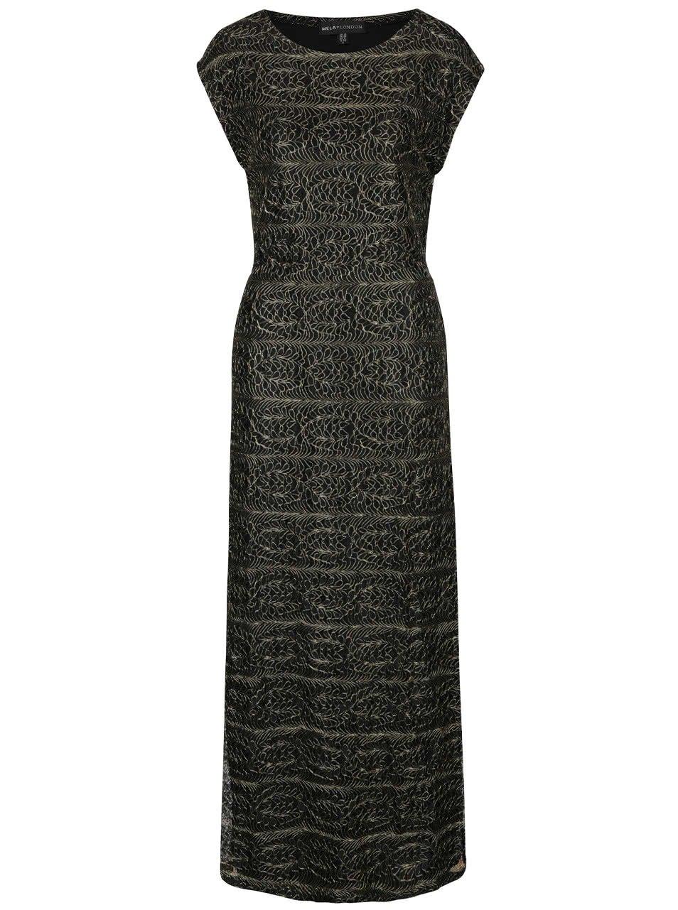 Černé dlouhé šaty se vzory ve zlaté barvě Mela London