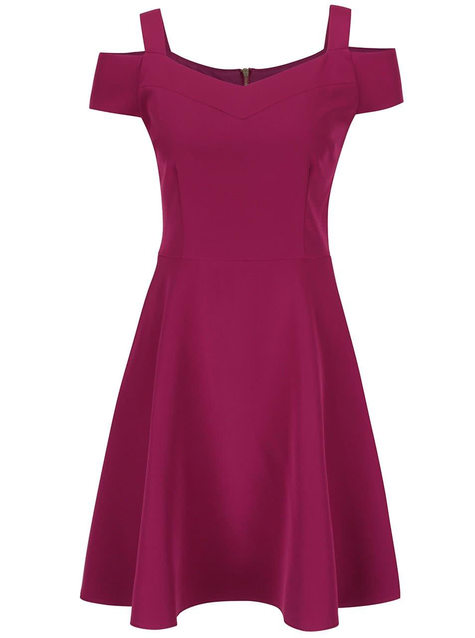 Fuchsiové šaty s odhalenými rameny Dorothy Perkins