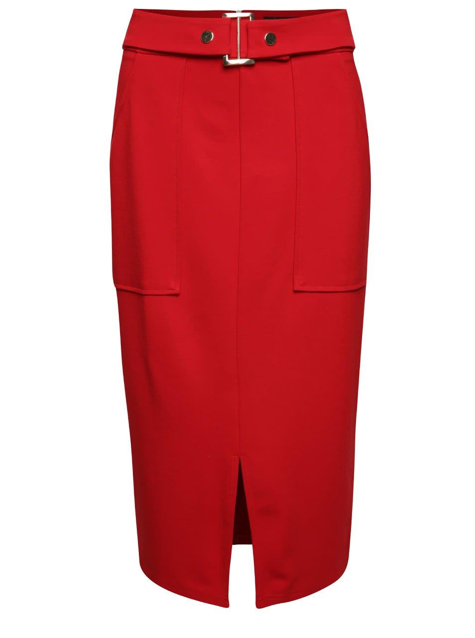 Červená dlouhá sukně s páskem Dorothy Perkins