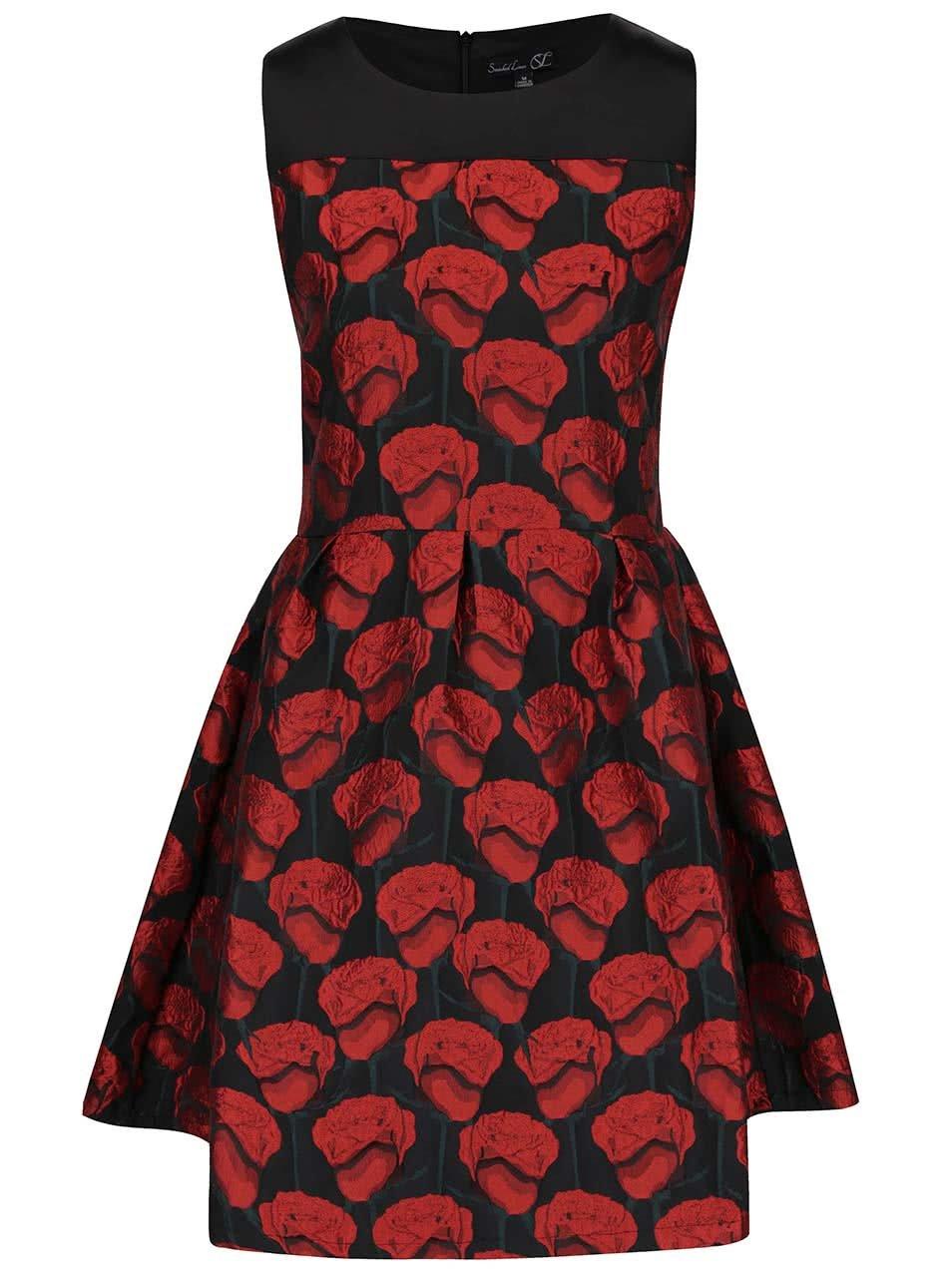 Červeno-černé šaty s motivem růži Smashed Lemon