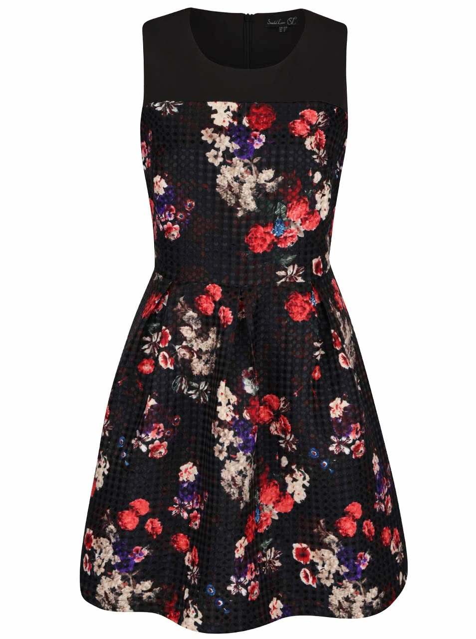 Červeno-černé květované šaty se vzorem Smashed Lemon