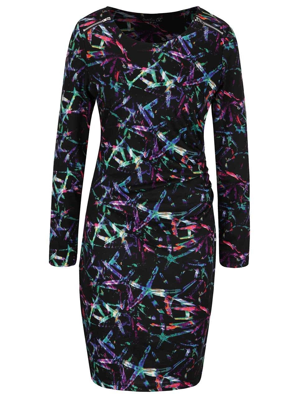 Černé vzorované šaty se zipy Smashed Lemon