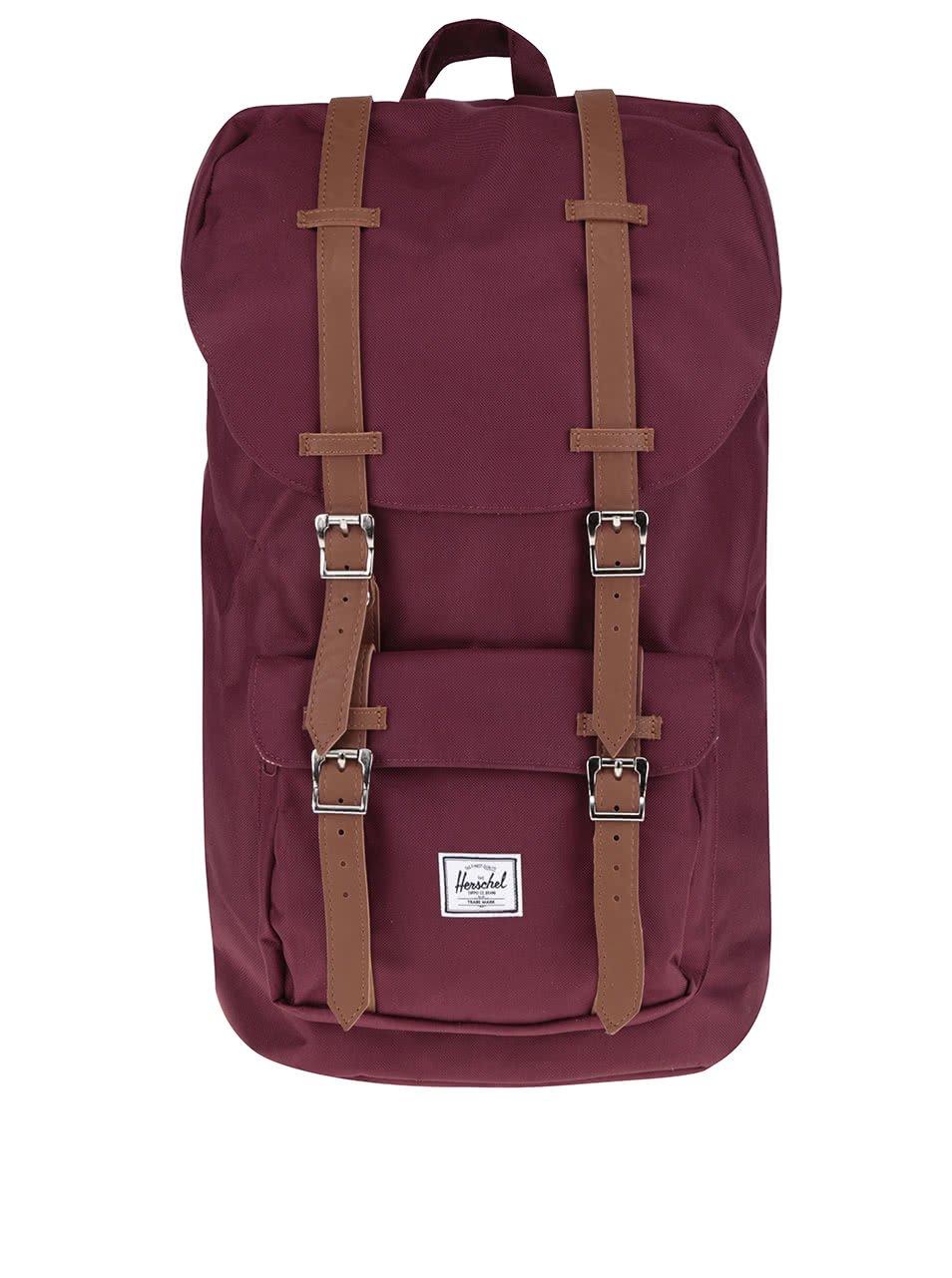 Vínový batoh s hnědými popruhy Herschel Little America 25 l