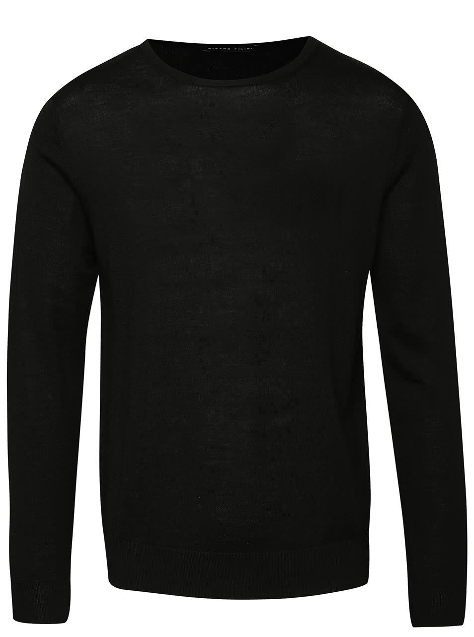 Černý pánský lehký svetr z Merino vlny s véčkovým výstřihem Pietro Filipi