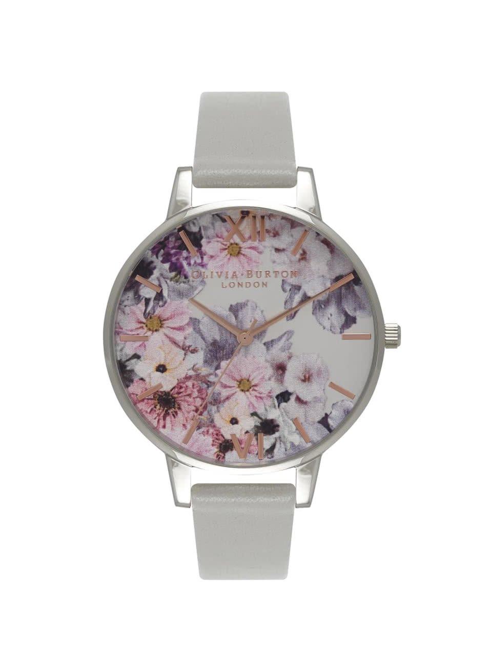 Šedé hodinky s květovaným ciferníkem Olivia Burton
