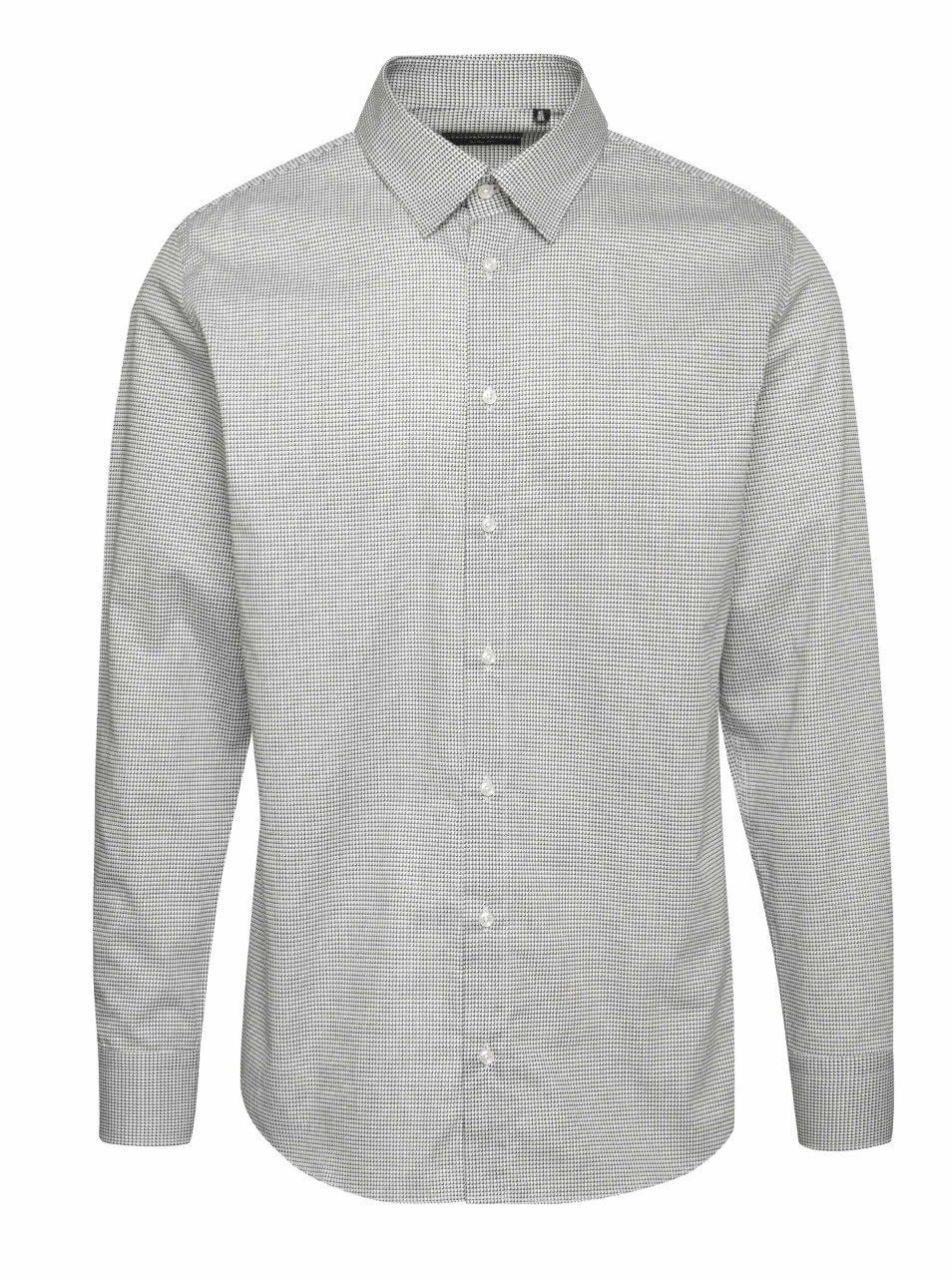 Šedá pánská vzorovaná slim fit košile Pietro Filipi