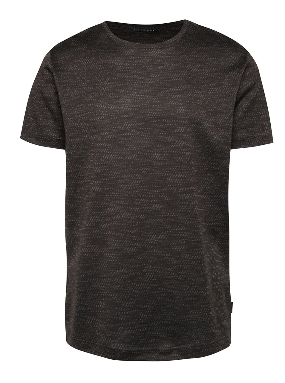 Tmavě šedé pánské žíhané triko s krátkým rukávem Pietro Filipi