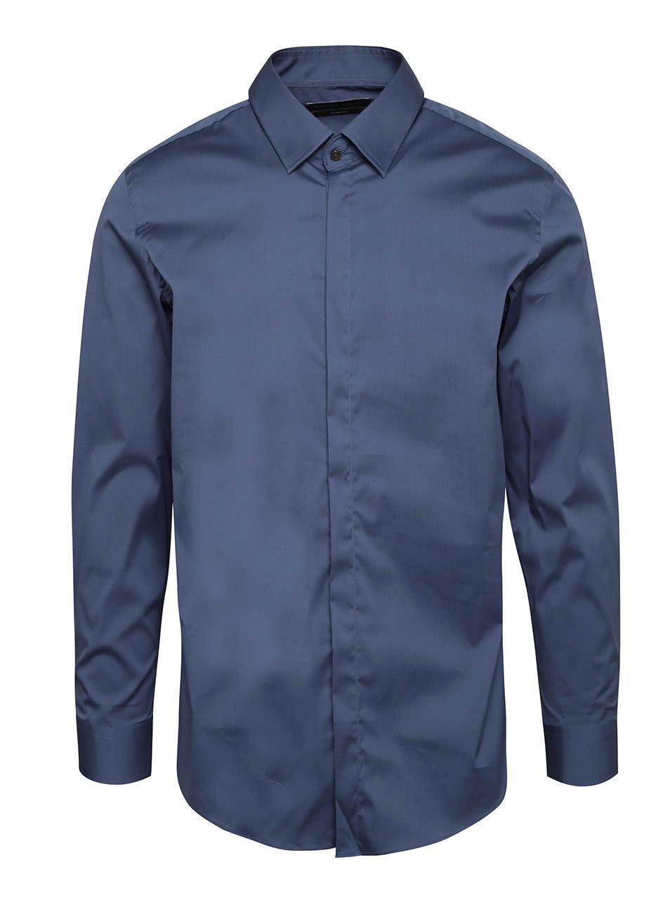 Modrá pánská formální slim fit košile Pietro Filipi