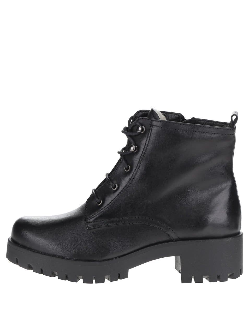Černé kotníkové kožené šněrovací boty Tamaris