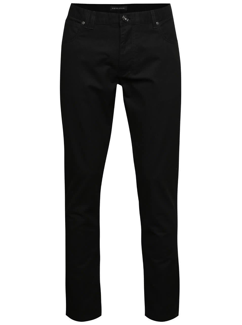 Tmavě šedé pánské kalhoty s jemným kostkovaným vzorem Pietro Filipi