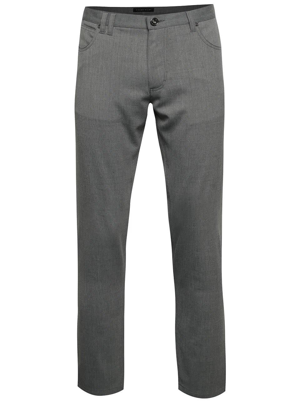 Šedé pánské slim fit kalhoty Pietro Filipi