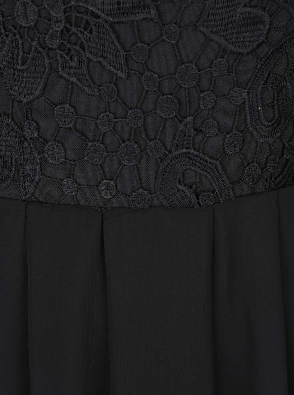 Černé maxišaty s krajkovým topem AX Paris