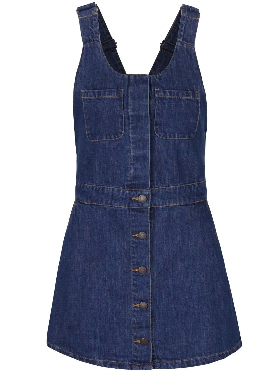 Modré džínové minišaty s lacly ONLY Lily