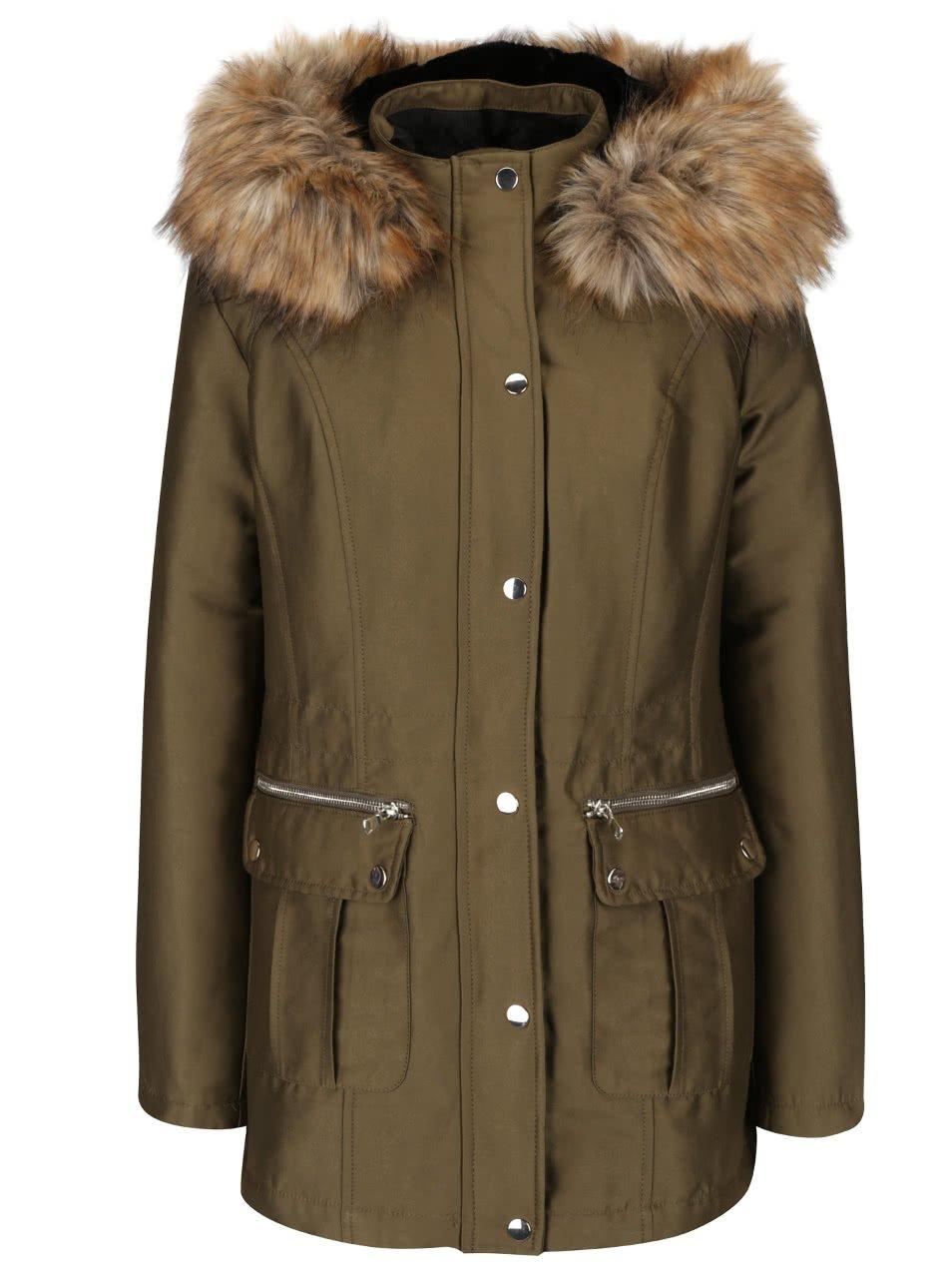 Khaki bunda s umělou kožešinou Miss Selfridge