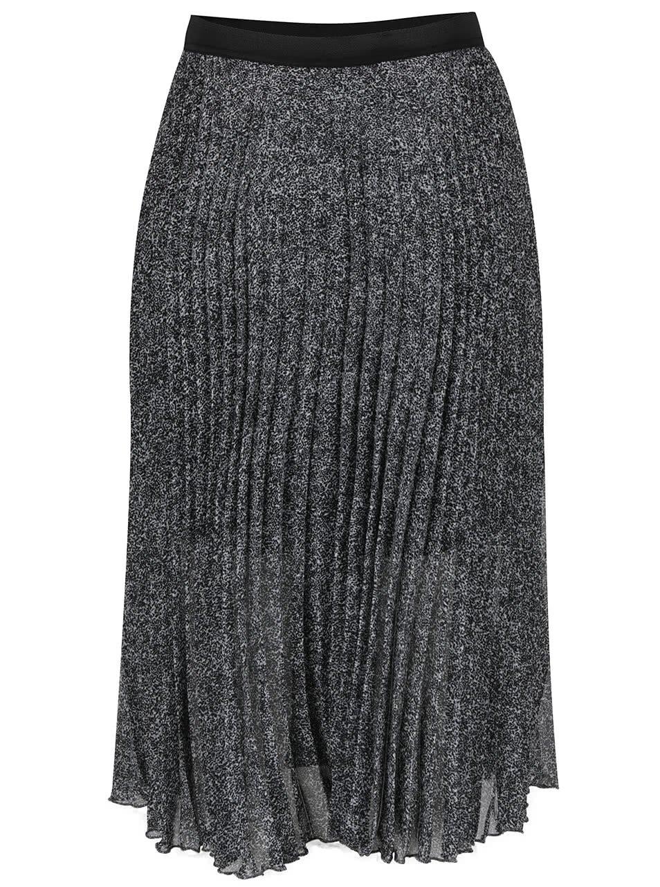 Černo-šedá vzorovaná plisovaná sukně Miss Selfridge