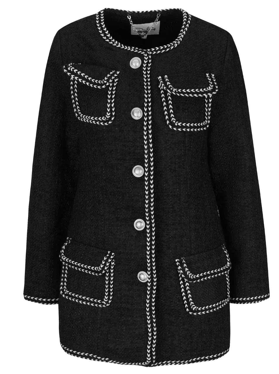Černý kabát s kapsami a krémovým lemováním Darling Cece