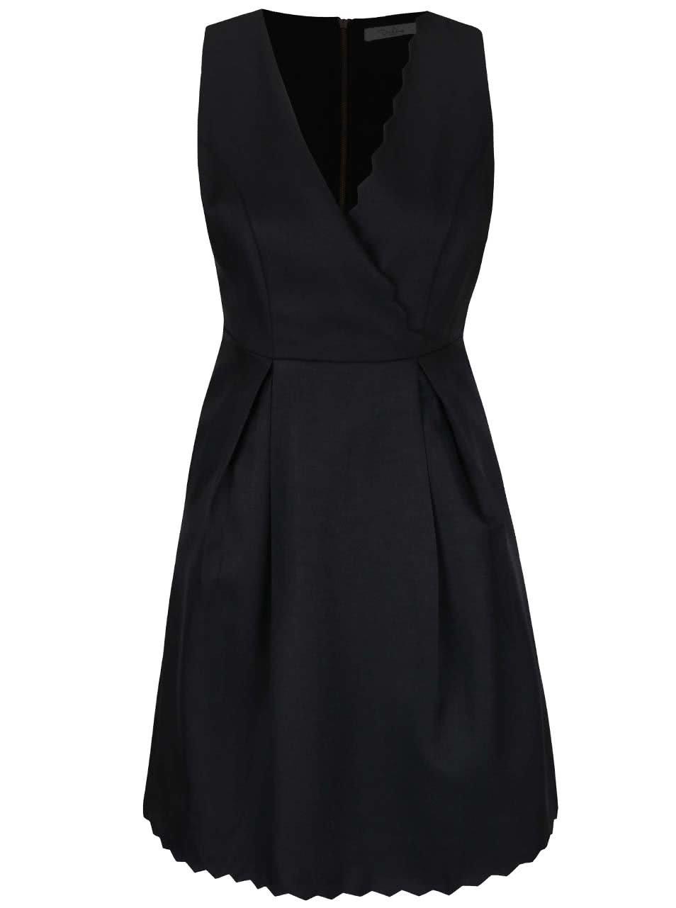 Čierne šaty s prekladaným ozdobným výstrihom Darling Blanche