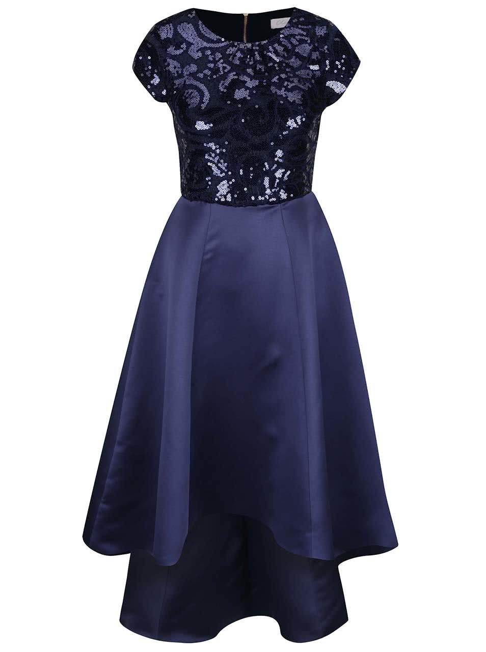 Tmavě modré lesklé dlouhé šaty s flitry Closet