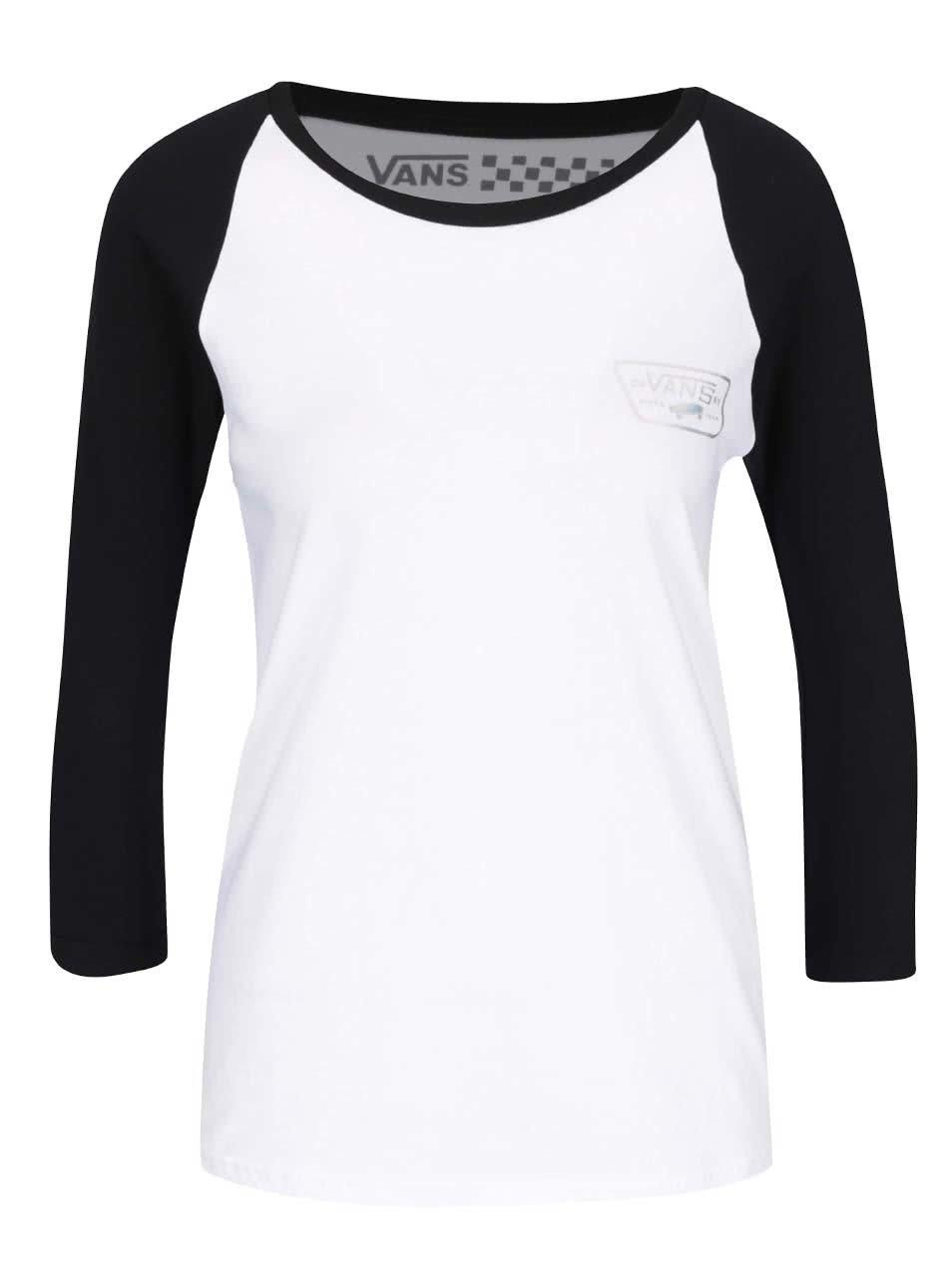 Černo-bílé dámské tričko 3/4 rukávy Vans Hologram Raglan