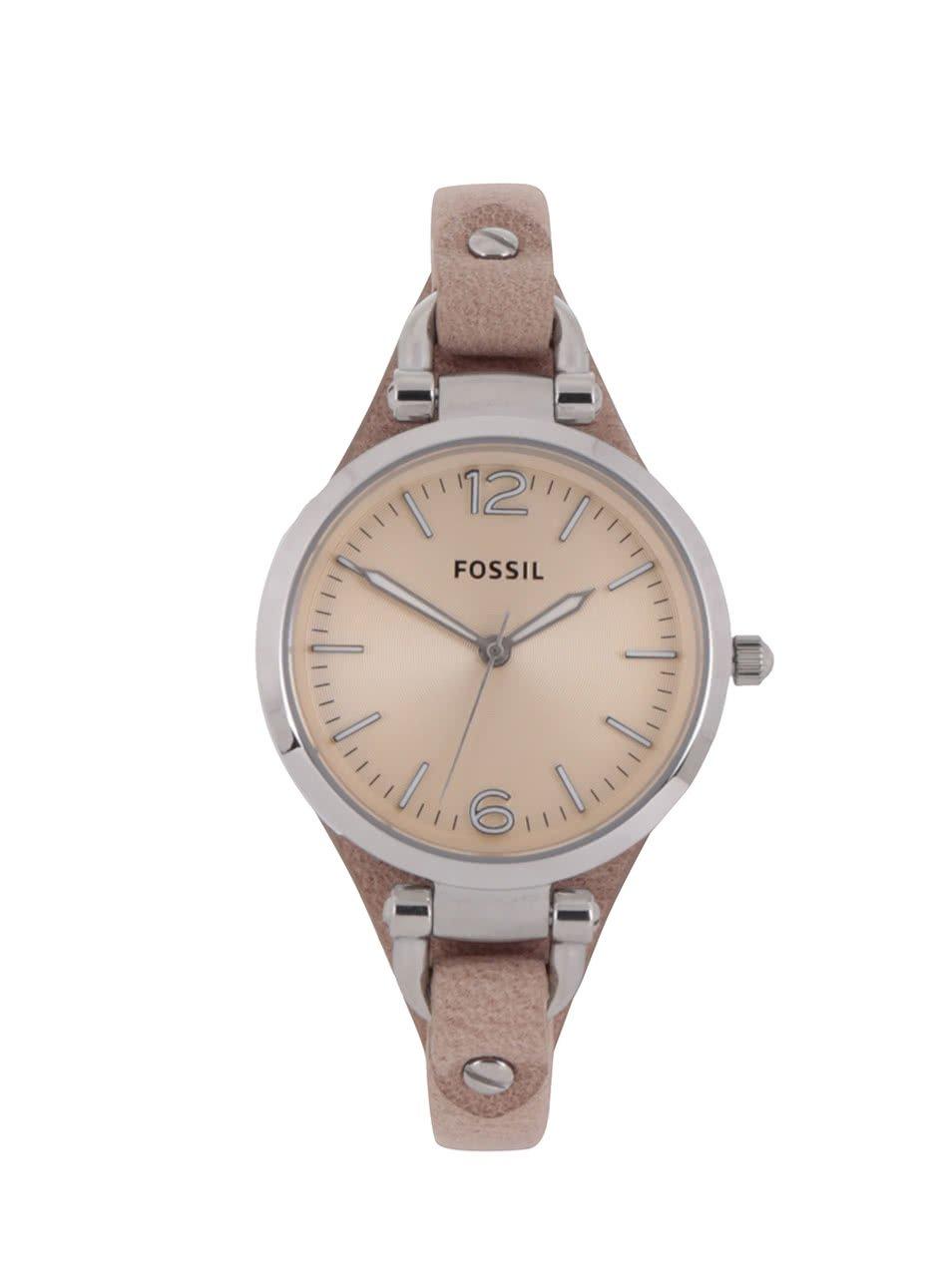 Dámske hodinky s béžovým koženým remienkom Fossil Georgia e07ee6bf3d5