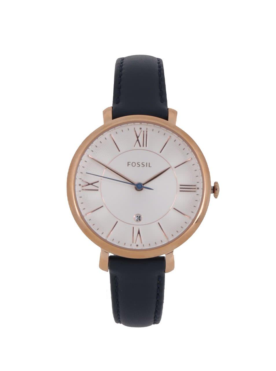 Dámské hodinky ve zlaté barvě s tmavě modrým koženým páskem Fossil Jacqueline