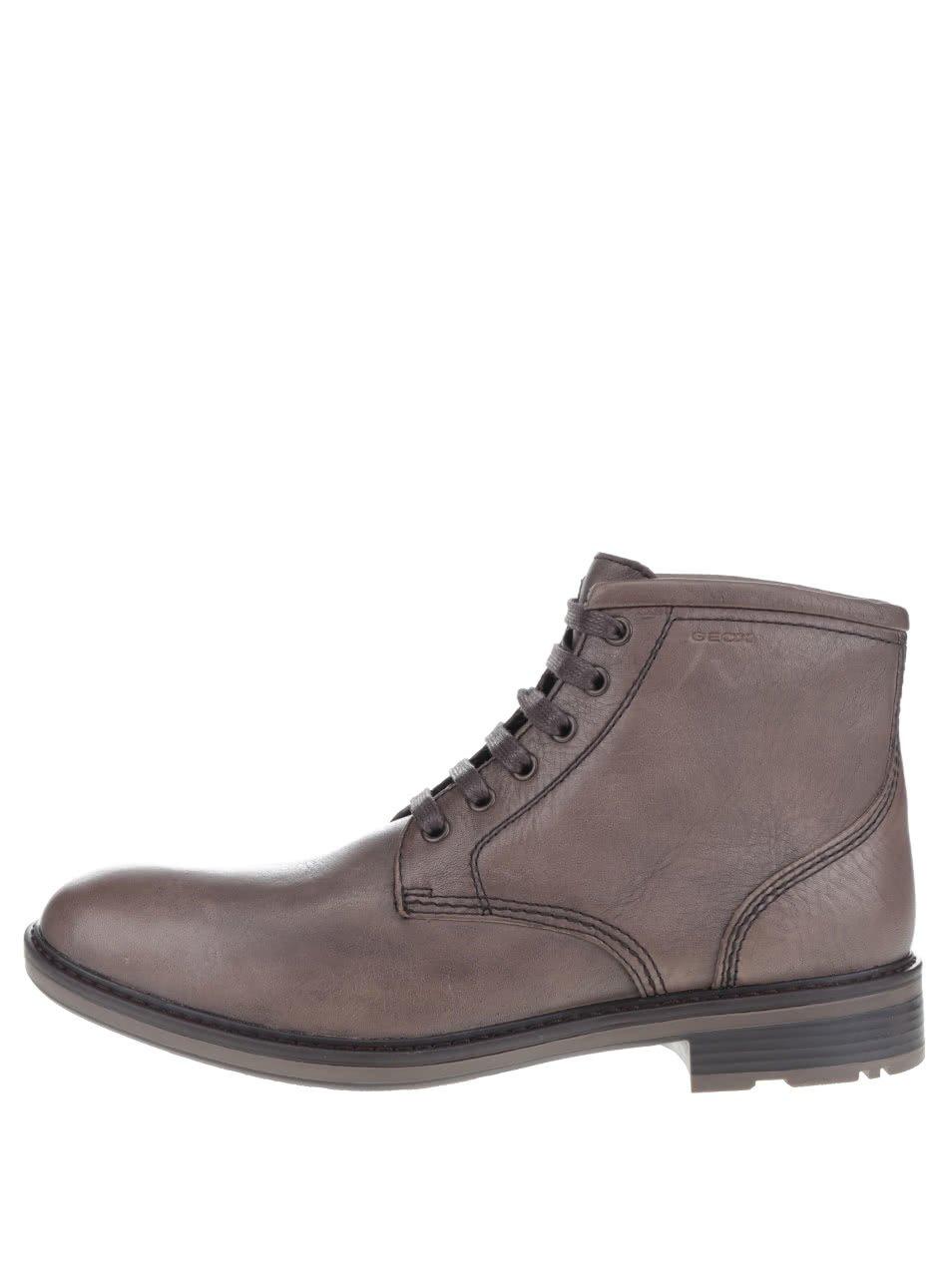 Hnědé pánské kožené kotníkové boty Geox Rickmove