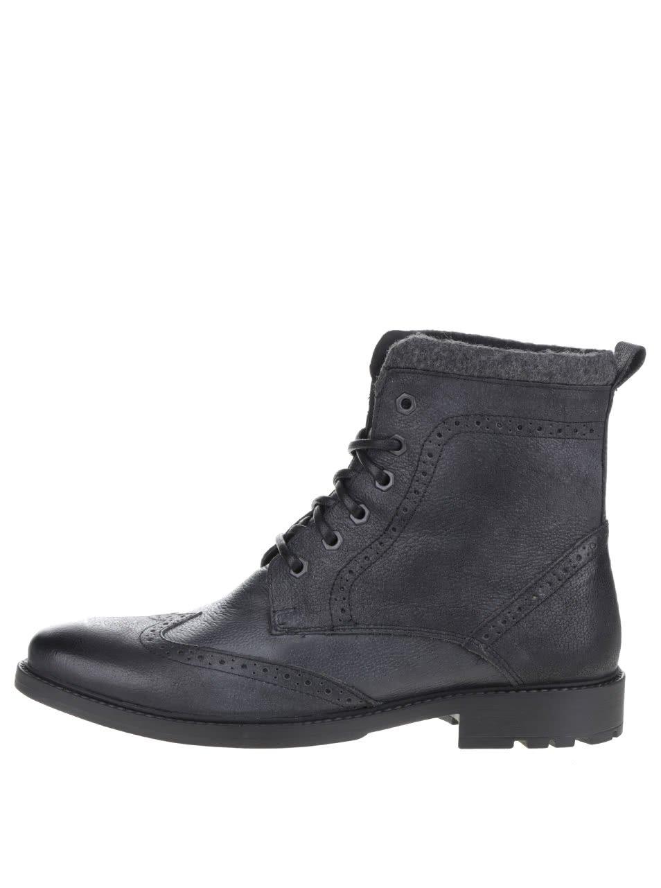 Černé kožené kotníkové brogue boty Burton Menswear London Penley