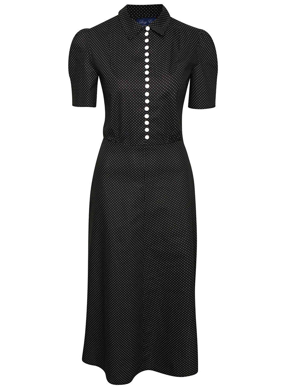 Černé puntíkované retro šaty s knoflíky Lazy Eye Marlen